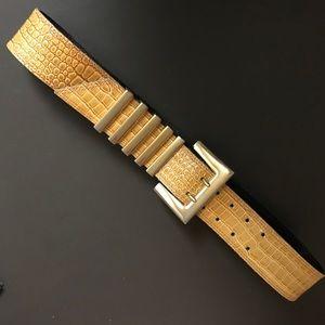 Escada Gold Alligator leather belt italy34 s/m NWT